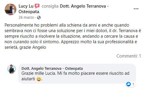 Testimonianza di Lucia per il trattamento osteopatico di angelo terranova